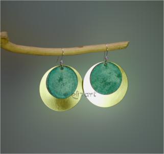 Boucles d'oreilles Hioka par Eliz'art en laiton, laiton patiné et argent 925