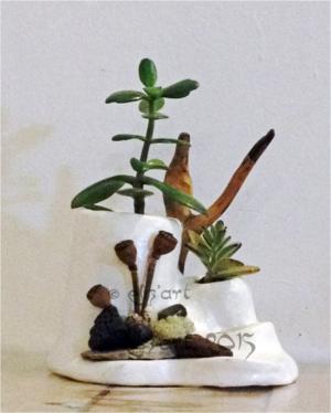 Composition végétale par eliz'art à partir de végétaux séchés, plantes grasses et Stone Art