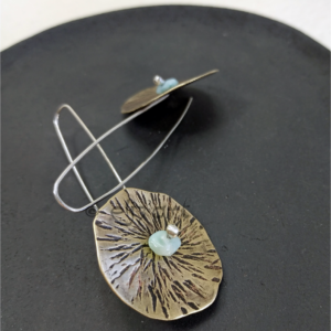 Boho earrings in etched brass, larimar and silver by Eliz'art